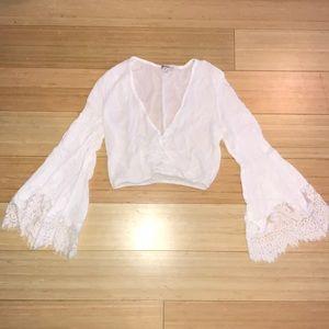 White Bell Sleeve Crop Top